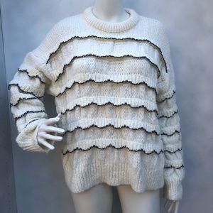 ZARA KNIT Ruffle Chunky Sweater Size M